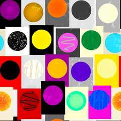 seamless geometric pattern background, with circles, squares,paint strokes and splashes, art inspired