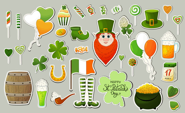 St. Patrick's Day stickers set. Shamrock, clover, gold coins,irish flag, ale, leprechaun, pot of gold, beer, hat, smoking pipe. St. Patricks day different icons stickers. St. Patricks day cllection.