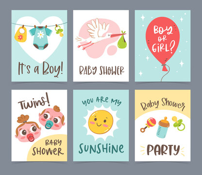 Cute vector hand drawn newborn card collection. Gift cards and invitations. Baby shower celebration concept.