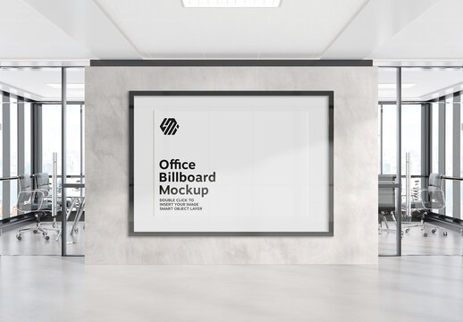 Frame Hanging on Office Wall Mockup