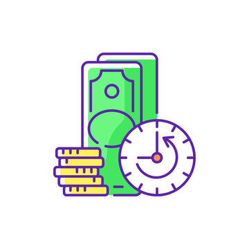 Extension RGB color icon. Skipping certain immediate payments. Increasing original maturity loan date. Additional facility to existing loan. Repayment terms. Isolated vector illustration