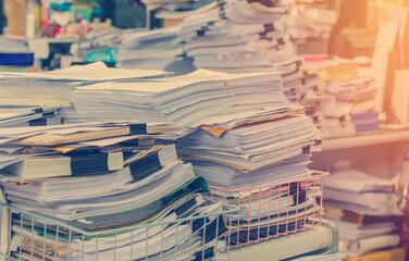 Fototapeta Stack Of Papers In Rack obraz