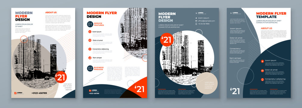 Flyer Design Set. Modern Flyer Background with Orange and Grey Accents. Template Layout for Flyer. Concept with Dynamic Circle Shapes. Vector Background.
