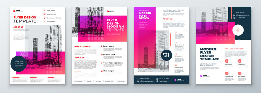 Flyer Design Set. Modern Flyer Background Design. Template Layout for Flyer. Concept with Dynamic Line Shapes. Vector Background.