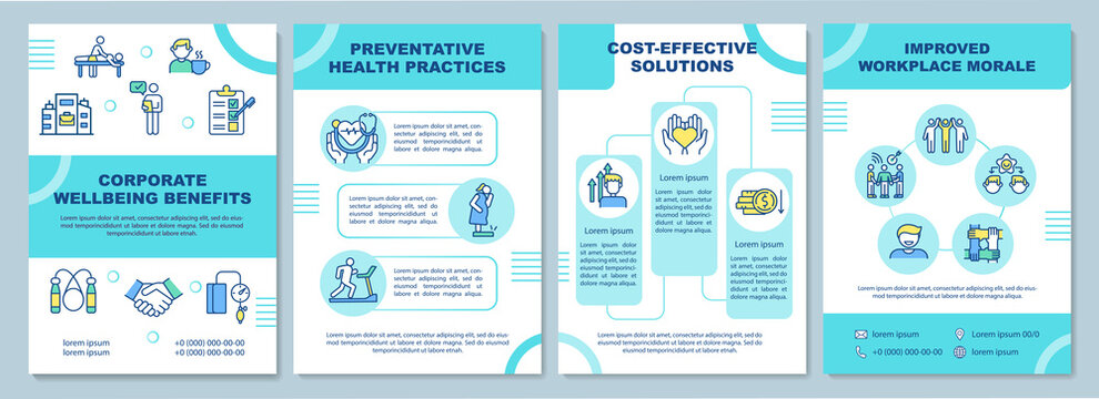 Corporate wellbeing benefits brochure template. Health practices. Flyer, booklet, leaflet print, cover design with linear icons. Vector layouts for magazines, annual reports, advertising posters