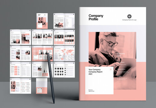 Company Profile Booklet Layout with Peach Accents