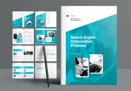 Search Engine Optimization Proposal Booklet Layout with Teal Accents