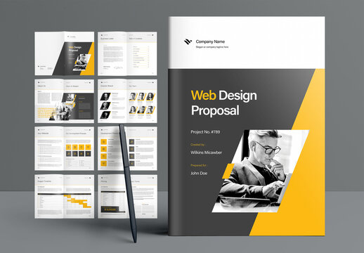 Web Design Proposal Booklet Layout with Gray and Yellow Accents