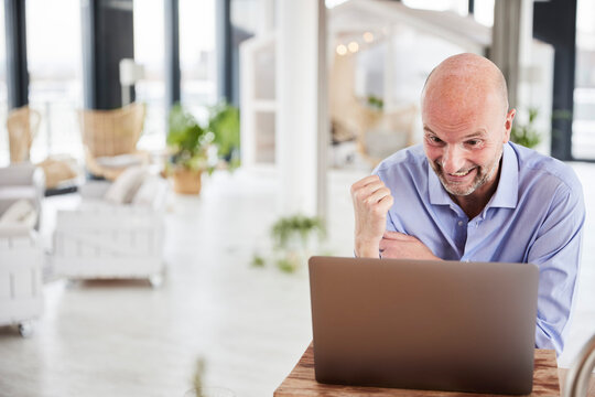 Excited businessman showing winning gesture while working on laptop at home