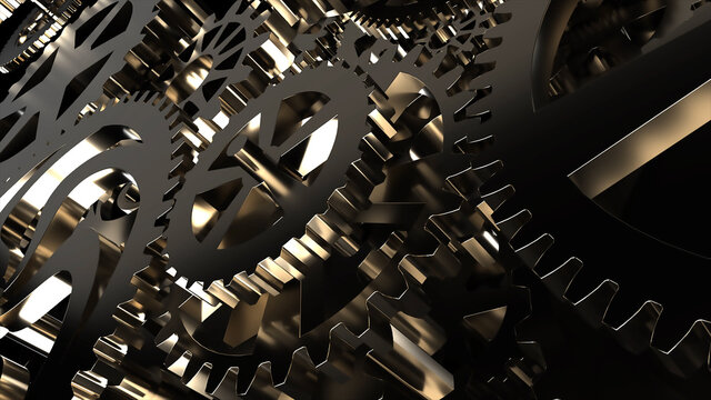 Metallic gears at black background. Decorative frame. Abstract seamless dark surface. 3D rendering. Close up