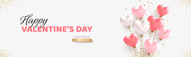 Fototapeta Valentine's day horizontal banner design. Realistic white and pink balloons. Ballon bunch with golden confetti. Decorative holiday banner, festive web poster, flyer, brochure. Romantic card background obraz