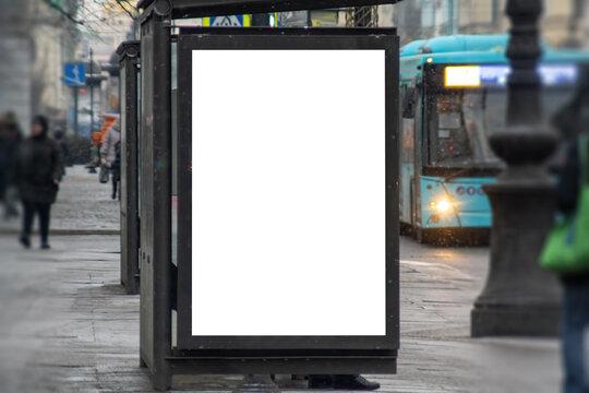 Light box mockup at a bus stop