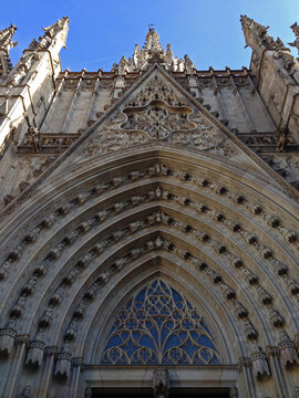 Entrance arch to a cathedral in Barcelona