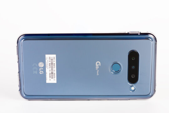 Brnenec, Czech Republic - January 20, 2020: Touchscreen triple camera smartphone  LG G8S ThinQ in silicone cover. LG is a South Korean multinational electronics company.