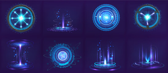 Obraz Sci-fi futuristic gadgets and devices in HUD style. Circle digital 3D elements for UI, GUI, VR and other. Hi-tech abstract elements - spheres, futuristic gadgets, holograms and other digital elements - fototapety do salonu