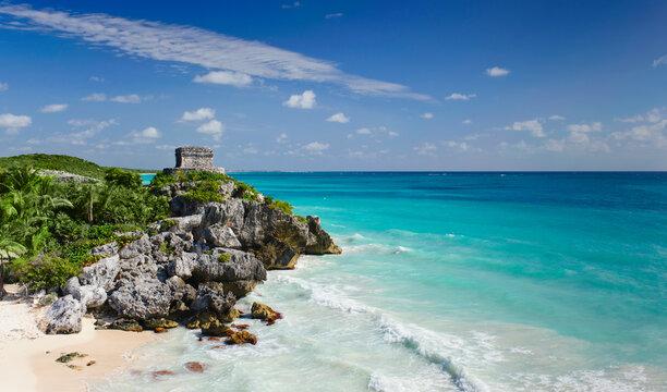 Beach with ancient Mayan ruins