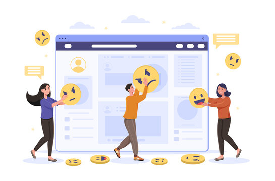Male and female characters giving positive and negative feedback. Concept of satisfaction rating and leaving review. Customer service leaving review on website. Flat cartoon vector illustration