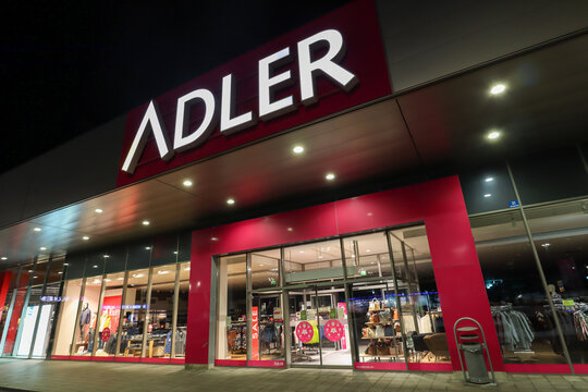 MUNICH BAVARIA GERMANY - JAN 13: Shop window of Adler fashion store, Insolvency request because of shutdown due Coronavirus pandemic in Munich, Germany on January 13, 2021