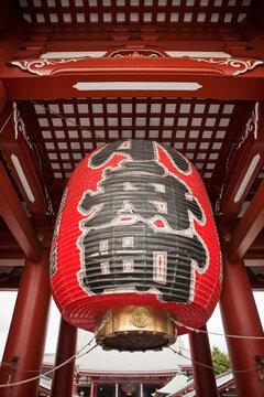 Japan, Tokyo, Asakusa, Senso-Ji Temple, low angle view of paper lantern