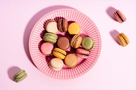 Plate of colorful macaroon cookies