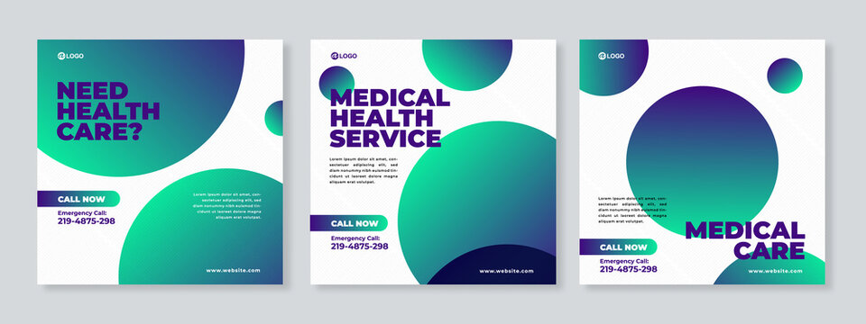 Healthcare Post Template Social Media Banners. Green and white background color - Vector