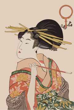 eps Vector image:Ukiyo-e Beautiful woman with smoke tube