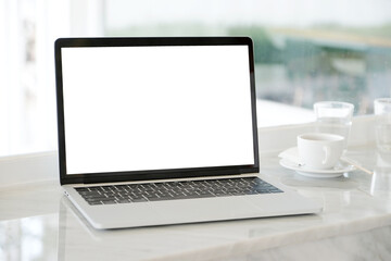 Fototapeta Laptop With Coffee Cup On Table obraz