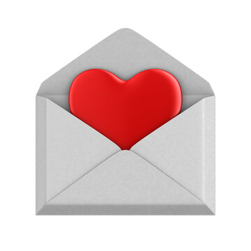 heart into envelopment on white background. Isolated 3D illustration