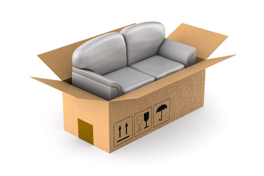 gray sofa into cargo box on white background. Isolated 3D illustration