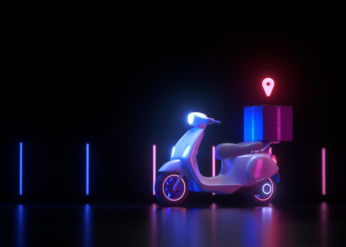 3D Free delivery service by scooter on neon glow light background. 3d render illustration.