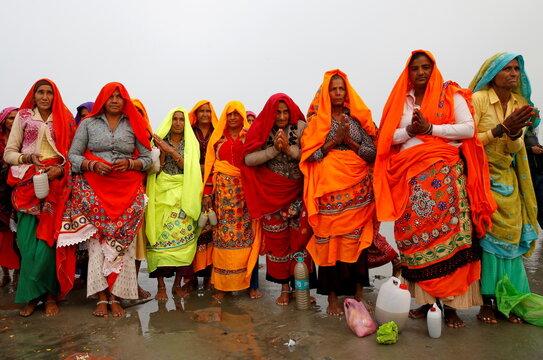 Pilgrims gather for the Makar Sankranti festival at Sagar Island