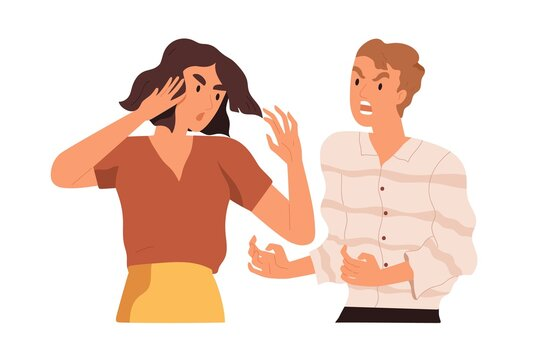 Couple arguing and conflicting. Aggressive and irritated man shouting at annoyed woman. Scene of family quarrel, problem in relashionship. Colorful flat vector illustration isolated on white