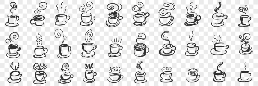 Hot drinks in cups doodle set. Collection of hand drawn hot tea, coffee, cocoa in mugs and cups for breakfast with flying steam isolated on transparent background. Illustration of hot homemade drinks