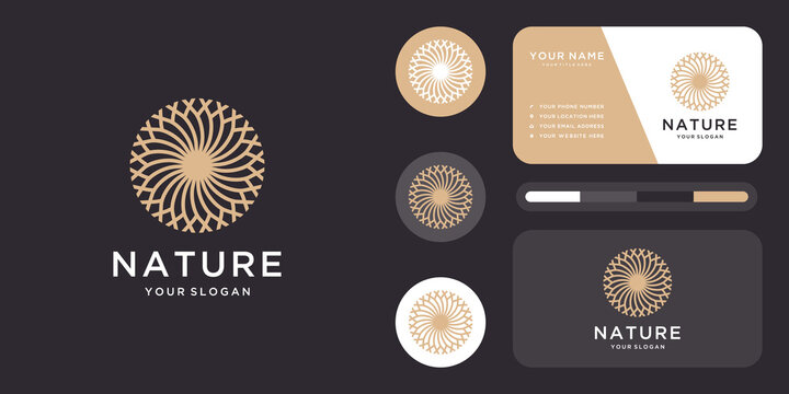 Natural cosmetic logo. icon and business card template