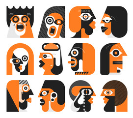 Orange and black colors isolated on a white background Twelve Portraits of Different People graphic illustration. Set of flat design avatars.