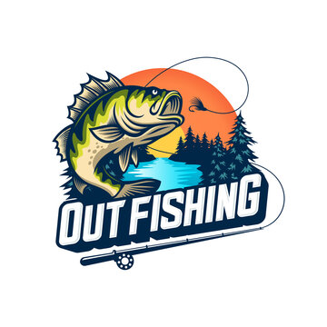 Fishing logo design template illustration . Sport fishing Logo