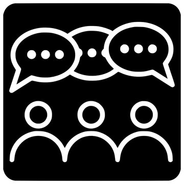 people group discussion icon outline style vector People, Outline, Black, Speaking, Three, Icon, Person, Discussion, Group, Design, Vector, Sign