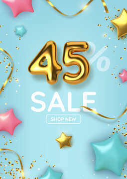 45 off discount promotion sale made of realistic 3d gold balloons with stars, sepantine and tinsel. Number in the form of golden balloons. Vector