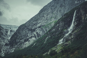Wall Mural - Dramatic Norwegian Landscape with Waterfall