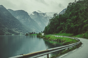Wall Mural - Scenic Norwegian Route Along the Lake