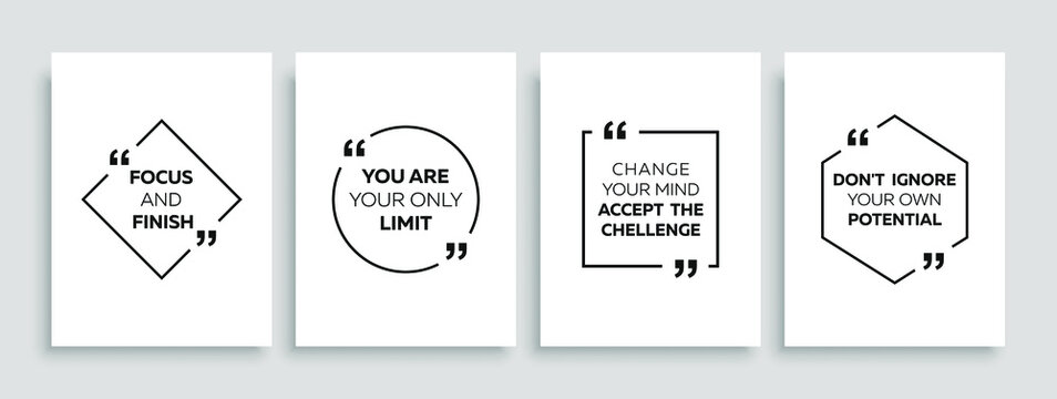 Inspirational quote for your opportunities. Speech bubbles with quote marks. Motivational quotes. Vector illustration.