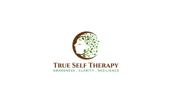 Therapy Logo with woman face and big tree with leaves vector