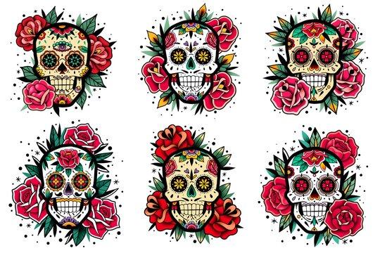 Mexican skull old school roses set. Mexican skulls set. Vector illustration. Dia de los muertos shugar colorful heads.