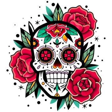 Mexican roses skull. Mexican roses skull. Vector illustration. Dia de los muertos shugar colorful head.
