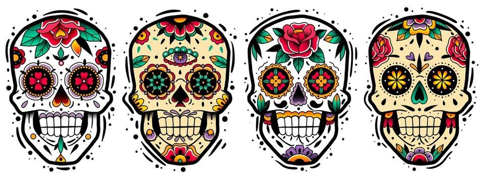 Mexican skulls set. Mexican skulls set. Vector illustration. Dia de los muertos shugar colorful heads.