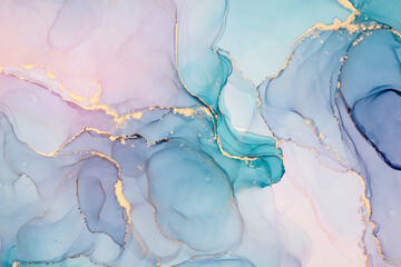 Natural  luxury abstract fluid art painting in alcohol ink technique. Tender and dreamy  wallpaper. Mixture of colors creating transparent waves and golden swirls. For posters, other printed materials