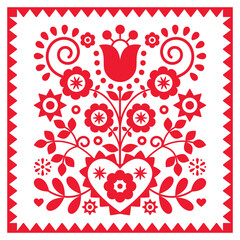 Obraz Floral retro folk art vector design in square frame from Nowy Sacz in Poland inspired by traditional highlanders embroidery Lachy Sadeckie  - fototapety do salonu