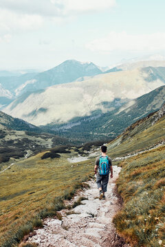 Young man with backpack hiking in a mountains, actively spending summer vacation. Rear view of teenager walking up on a hill along mountain path