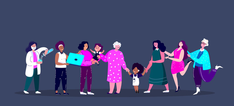 Feminism Different Women of Various Professions,Missions , Occupations.Scientist,Businesswoman,Mother,Old Pensioner Lady.Motivation poster.Feminine,Feminism,Woman Empowerment.Flat vector illustration.