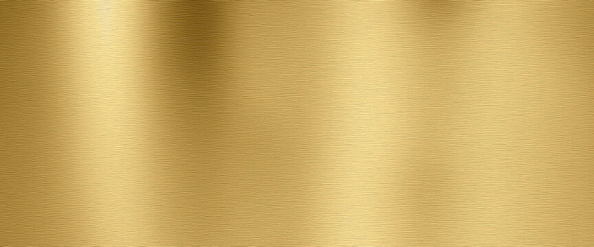 Golden shiny metal surface with brushed structure Horizontal background. Top view.